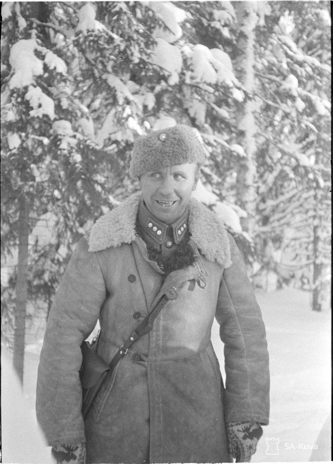 Aarne Juutilainen Kollaan rintamalla helmikuussa 1940.