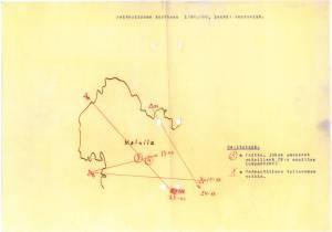 27.11.1939 tehty peitepiirros, joka oli Mainilan laukausten silminnäkijöiden kuulusteupöytäkirjan liitteenä. Siitä ilmenee laukausten todennäköinen ampumapaikka Neuvostoliiton puolella.