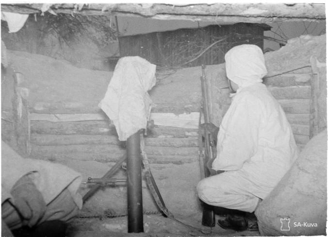 Kranaatinheitin Taipaleessa joulukuussa 1939. SA-Kuva.