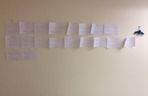 Jos käytössä on esimerkiksi seinäpinta-alaa, tarinan kokonaisuus on helpompi hahmottaa kuin vaikkapa näytöltä.